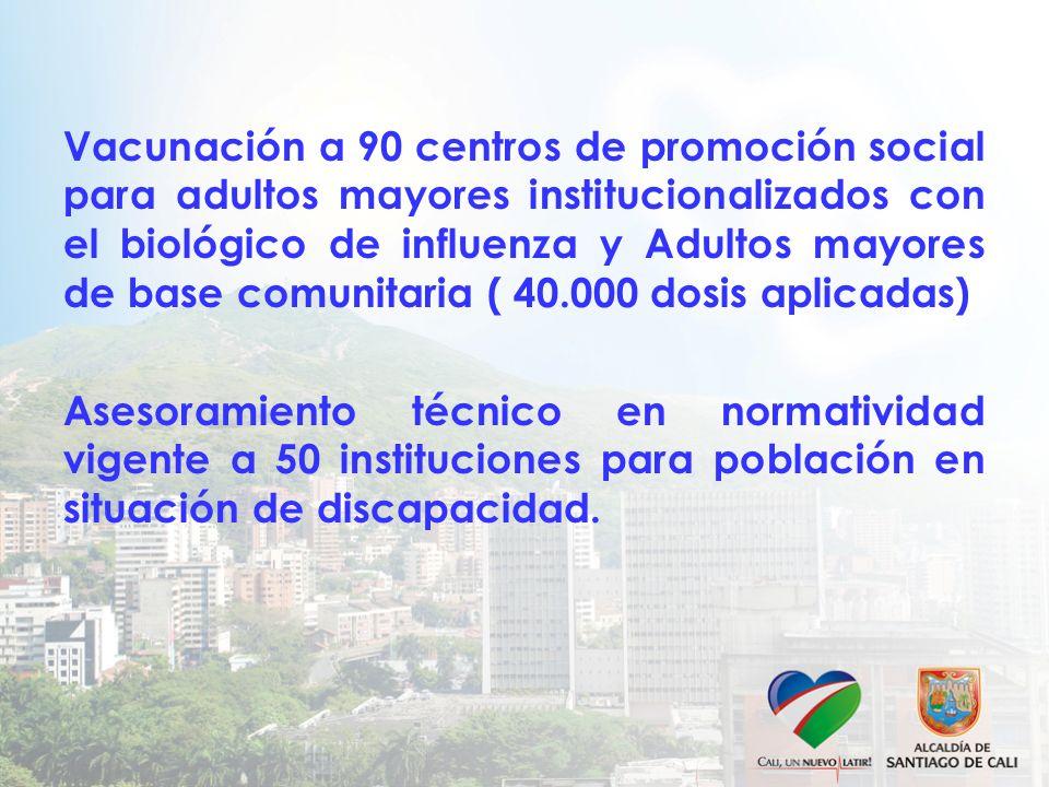 Vacunación a 90 centros de promoción social para adultos mayores institucionalizados con el biológico de influenza y Adultos mayores de base comunitaria ( 40.000 dosis aplicadas) Asesoramiento técnico en normatividad vigente a 50 instituciones para población en situación de discapacidad.