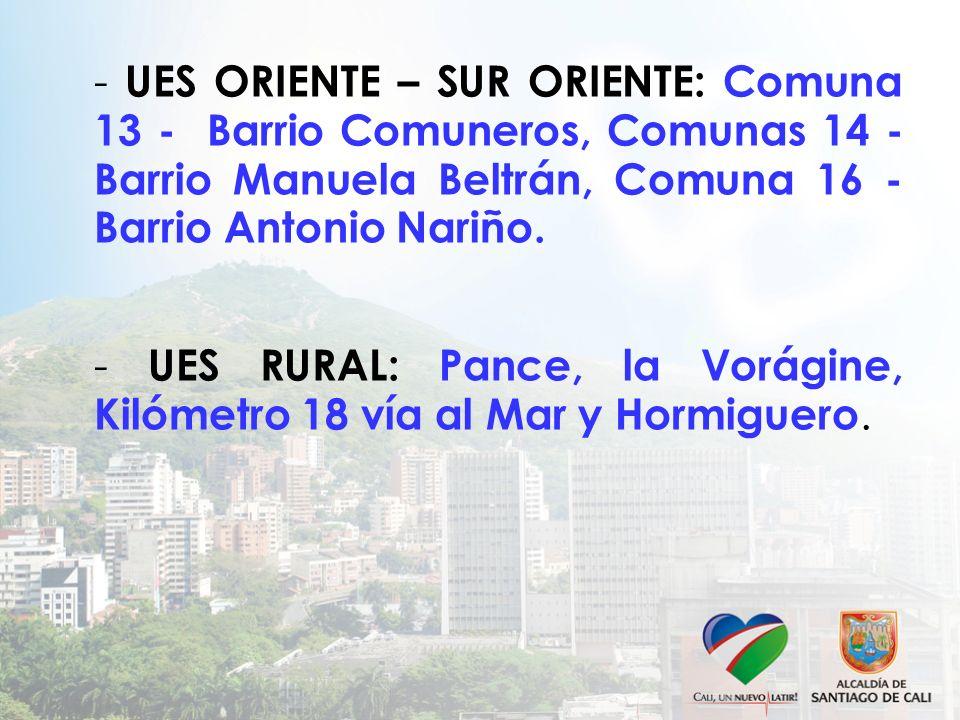 - UES ORIENTE – SUR ORIENTE: Comuna 13 - Barrio Comuneros, Comunas 14 - Barrio Manuela Beltrán, Comuna 16 - Barrio Antonio Nariño.