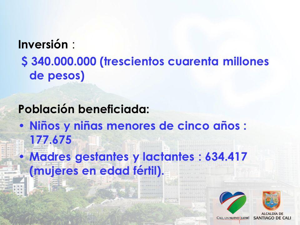 $ 340.000.000 (trescientos cuarenta millones de pesos)