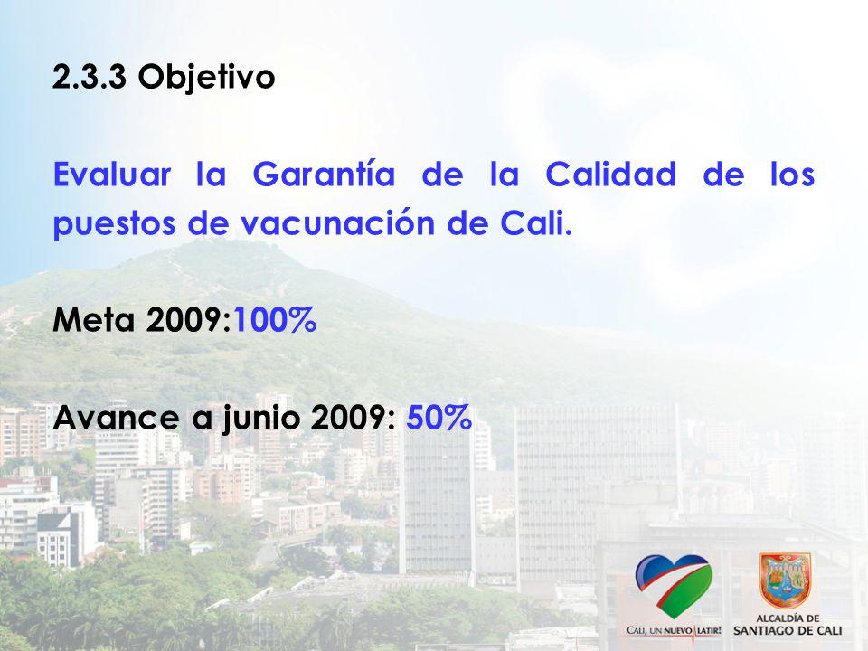 2.3.3 Objetivo Evaluar la Garantía de la Calidad de los puestos de vacunación de Cali.