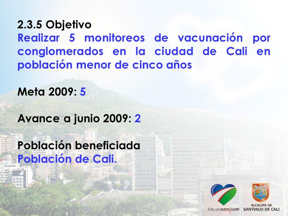 2.3.5 Objetivo Realizar 5 monitoreos de vacunación por conglomerados en la ciudad de Cali en población menor de cinco años Meta 2009: 5 Avance a junio 2009: 2 Población beneficiada Población de Cali.