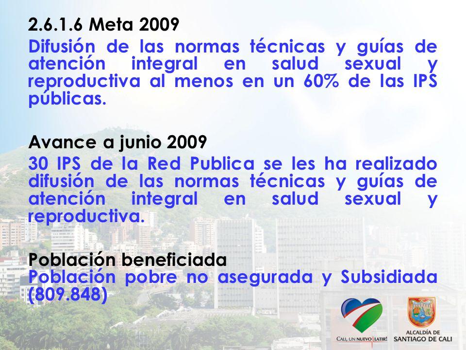 2.6.1.6 Meta 2009 Difusión de las normas técnicas y guías de atención integral en salud sexual y reproductiva al menos en un 60% de las IPS públicas.