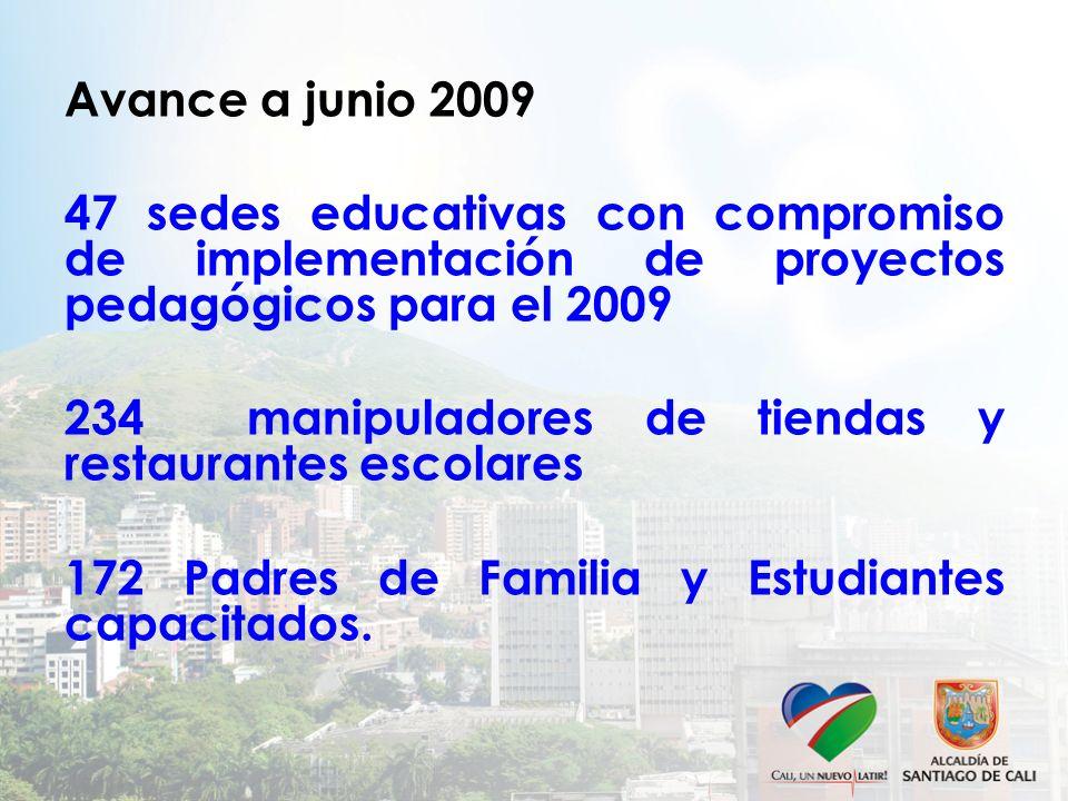 Avance a junio 2009 47 sedes educativas con compromiso de implementación de proyectos pedagógicos para el 2009.