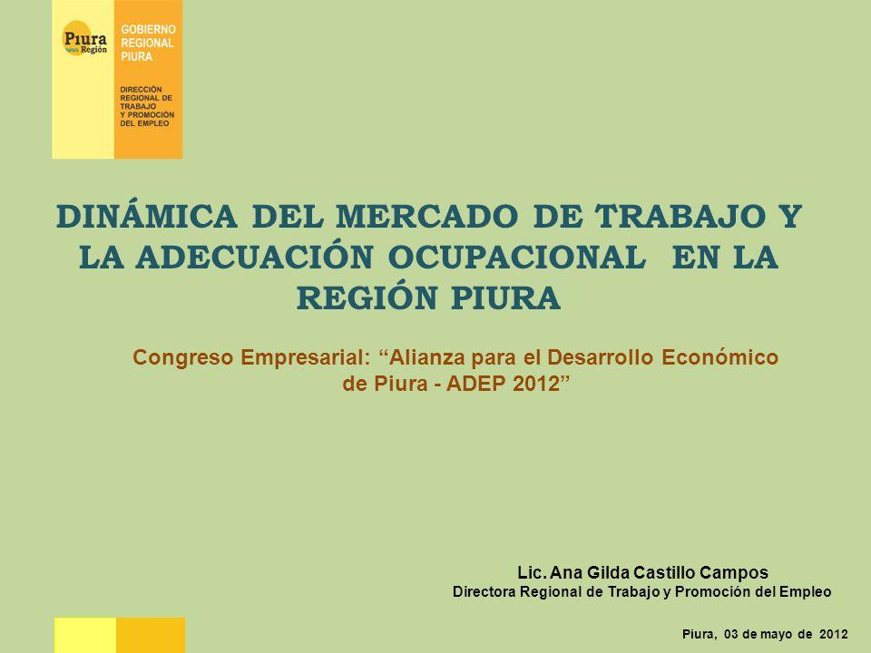 DINÁMICA DEL MERCADO DE TRABAJO Y LA ADECUACIÓN OCUPACIONAL EN LA REGIÓN PIURA