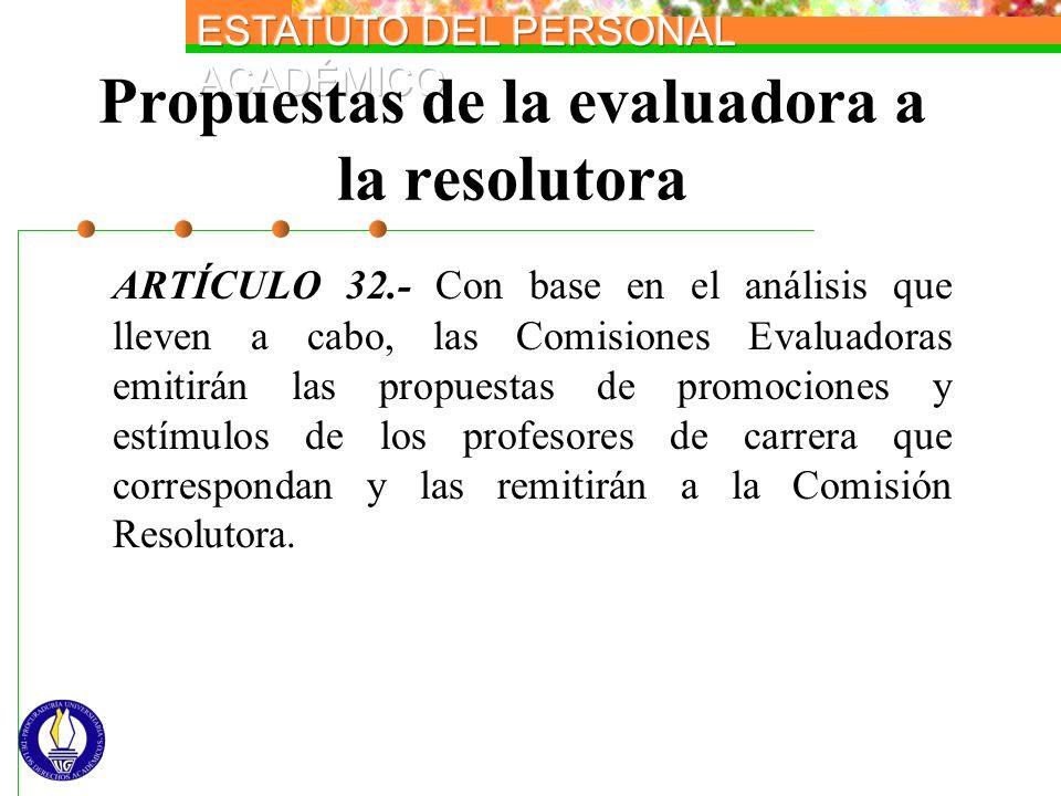 Propuestas de la evaluadora a la resolutora