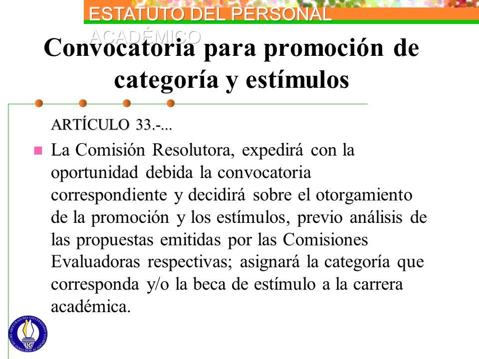 Convocatoria para promoción de categoría y estímulos