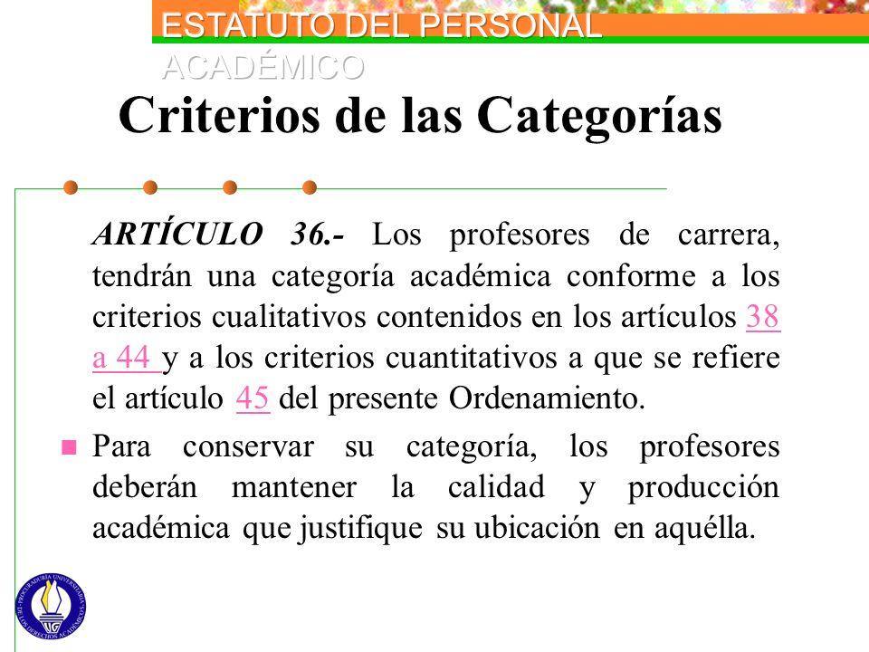 Criterios de las Categorías