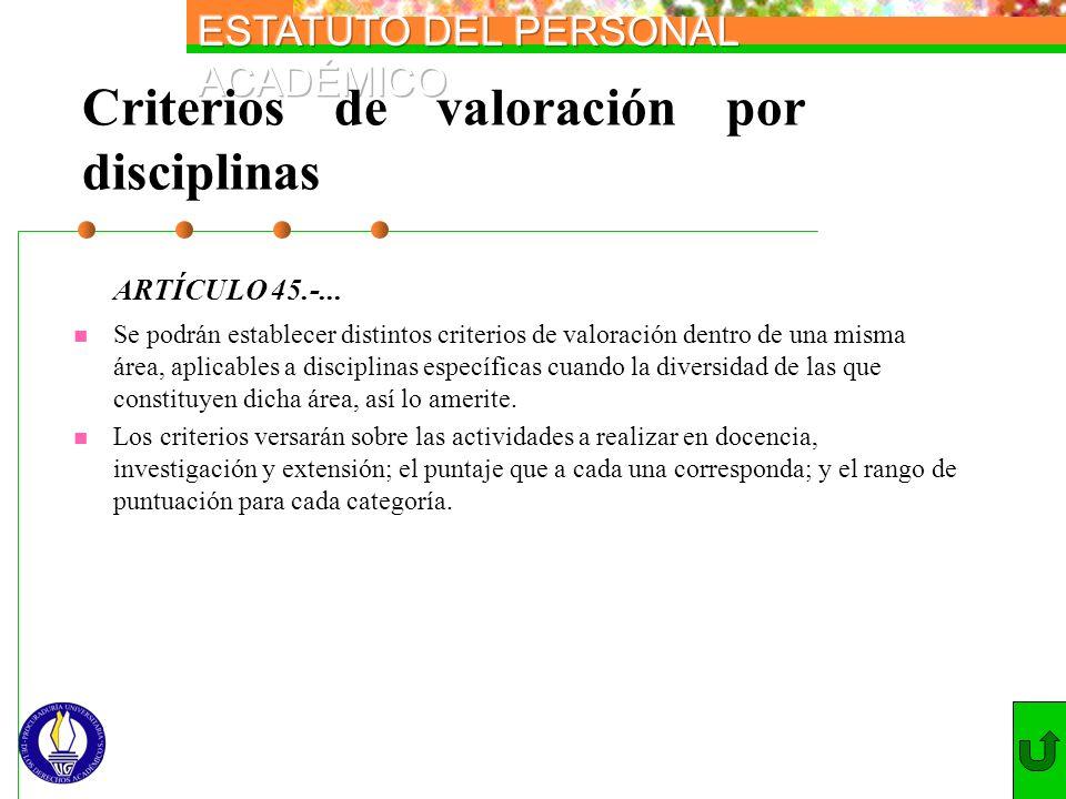 Criterios de valoración por disciplinas