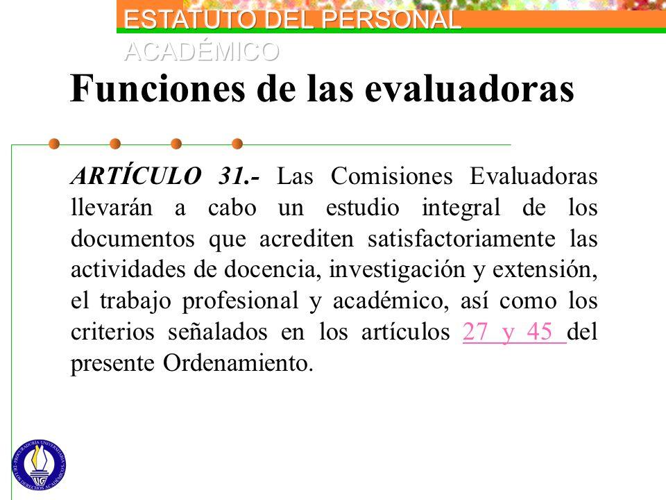 Funciones de las evaluadoras