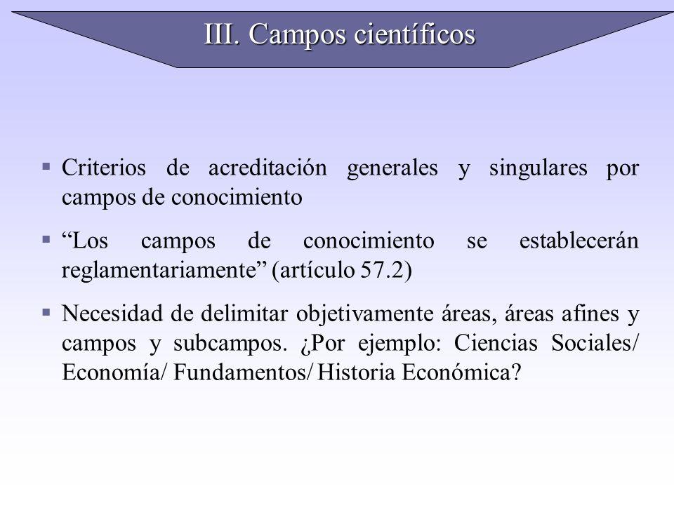 III. Campos científicos