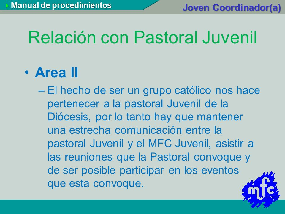 Relación con Pastoral Juvenil