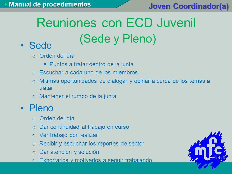 Reuniones con ECD Juvenil (Sede y Pleno)
