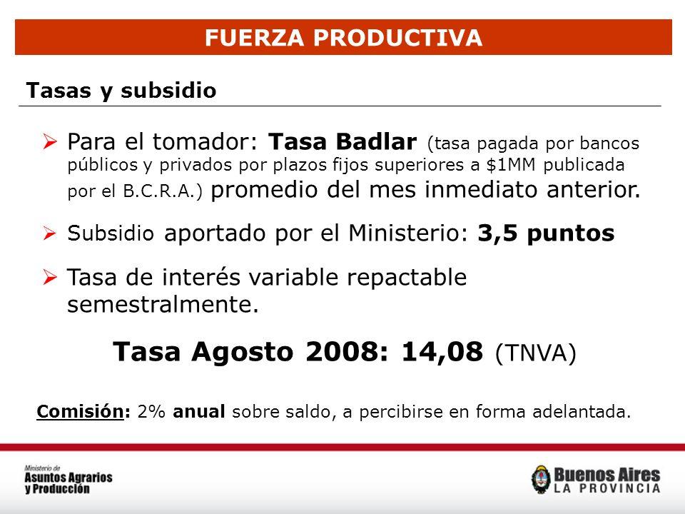 Tasa Agosto 2008: 14,08 (TNVA) FUERZA PRODUCTIVA