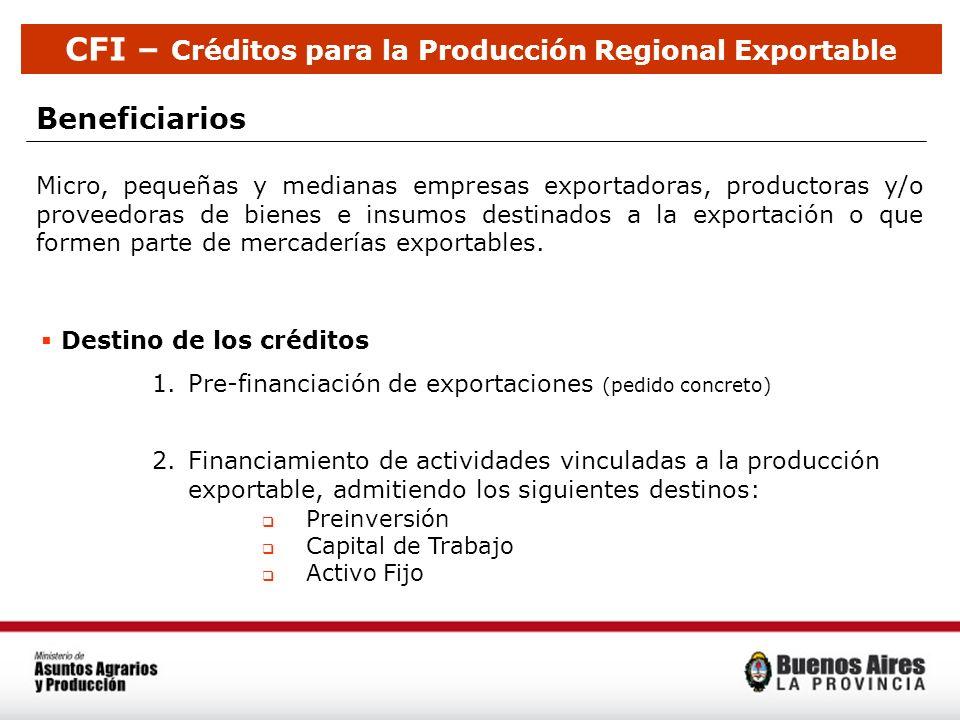 CFI – Créditos para la Producción Regional Exportable