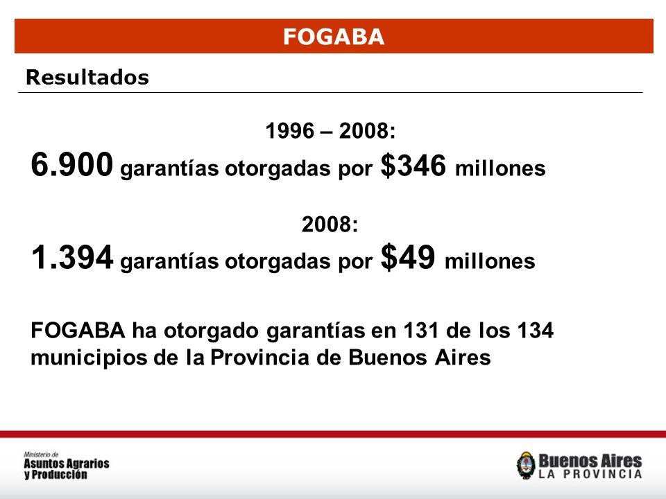 6.900 garantías otorgadas por $346 millones