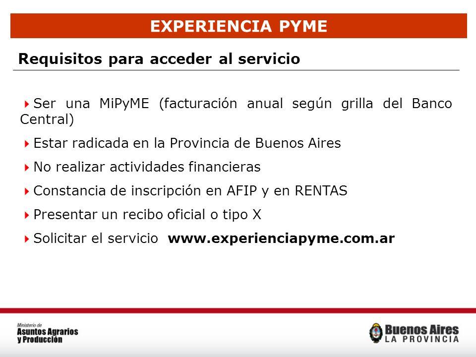 EXPERIENCIA PYME Requisitos para acceder al servicio