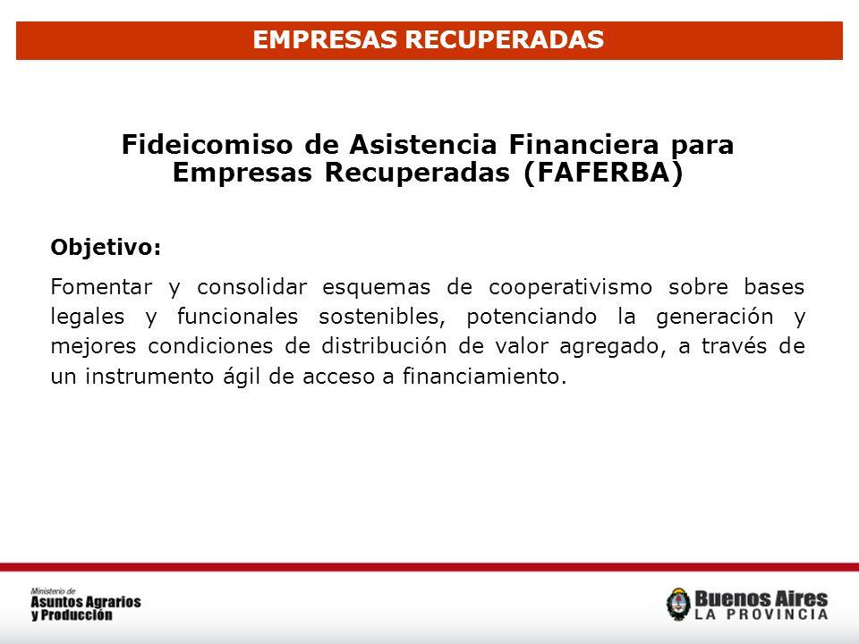 EMPRESAS RECUPERADAS Fideicomiso de Asistencia Financiera para Empresas Recuperadas (FAFERBA) Objetivo: