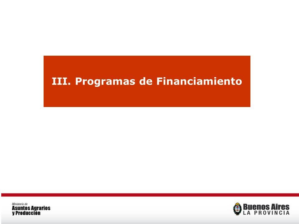 III. Programas de Financiamiento