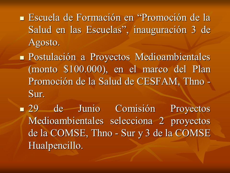 Escuela de Formación en Promoción de la Salud en las Escuelas , inauguración 3 de Agosto.