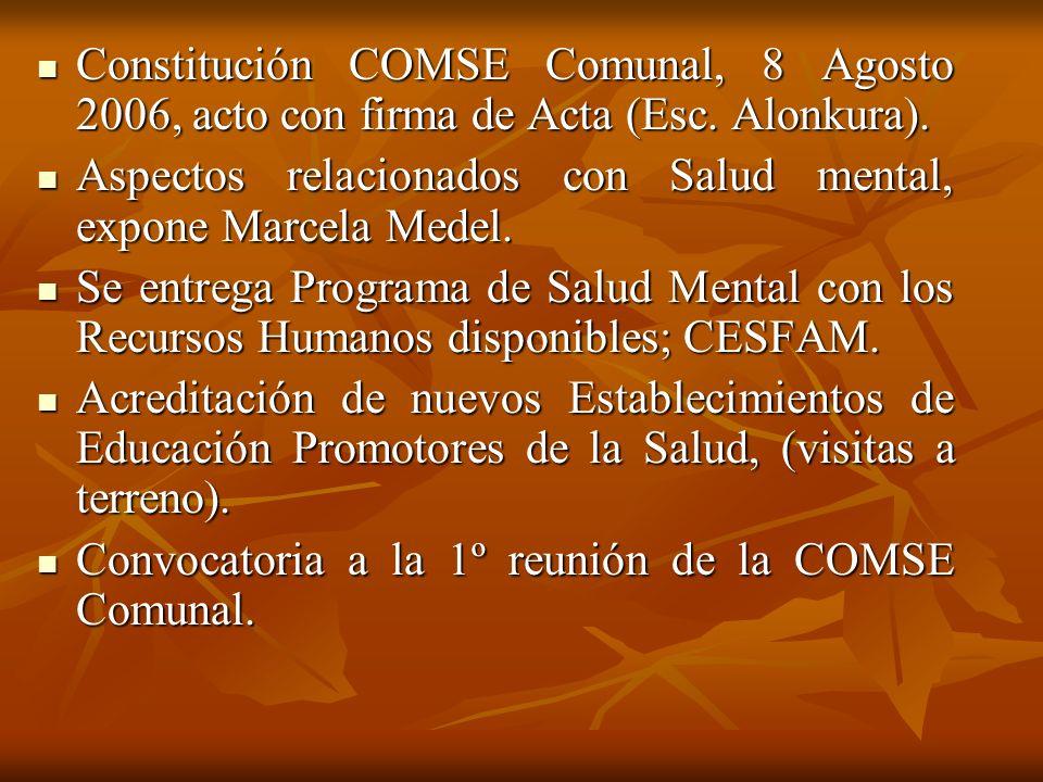 Constitución COMSE Comunal, 8 Agosto 2006, acto con firma de Acta (Esc
