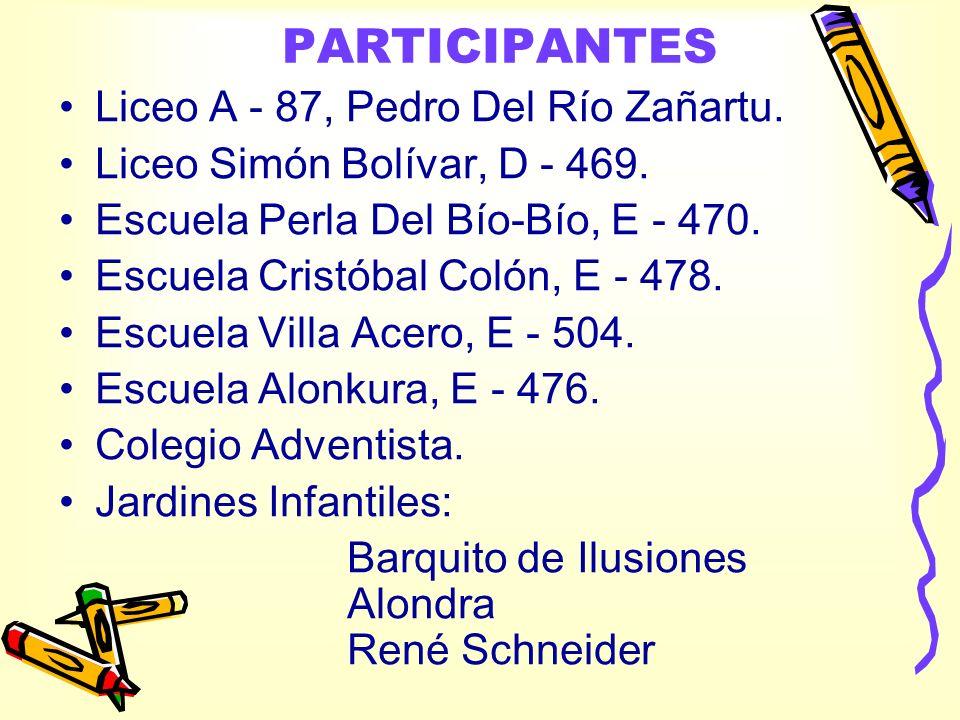 PARTICIPANTES Liceo A - 87, Pedro Del Río Zañartu.