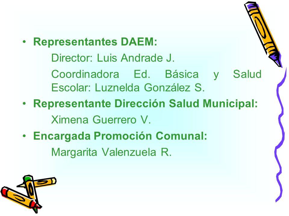 Representantes DAEM: Director: Luis Andrade J. Coordinadora Ed. Básica y Salud Escolar: Luznelda González S.