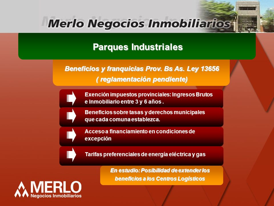 Parques Industriales Beneficios y franquicias Prov. Bs As. Ley 13656