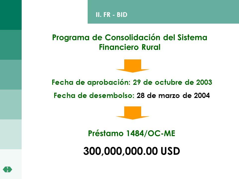 II. FR - BID Programa de Consolidación del Sistema Financiero Rural. Fecha de aprobación: 29 de octubre de 2003.