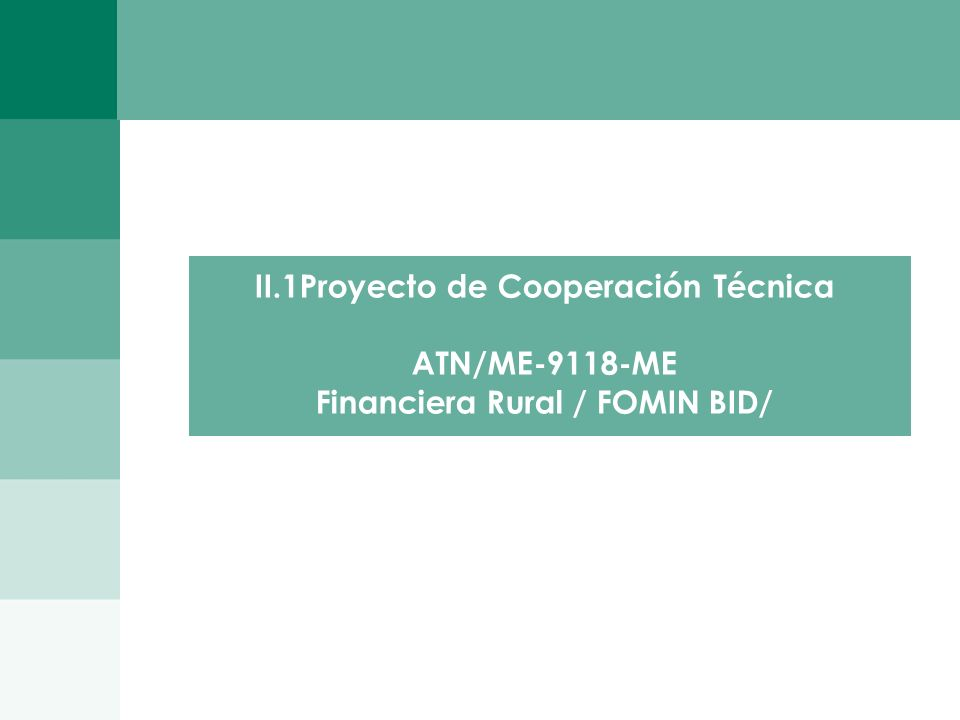 II.1Proyecto de Cooperación Técnica ATN/ME-9118-ME
