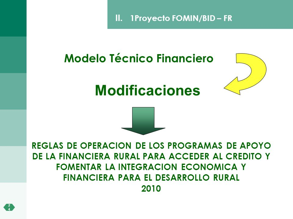 Modificaciones Modelo Técnico Financiero