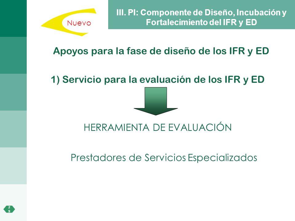Apoyos para la fase de diseño de los IFR y ED