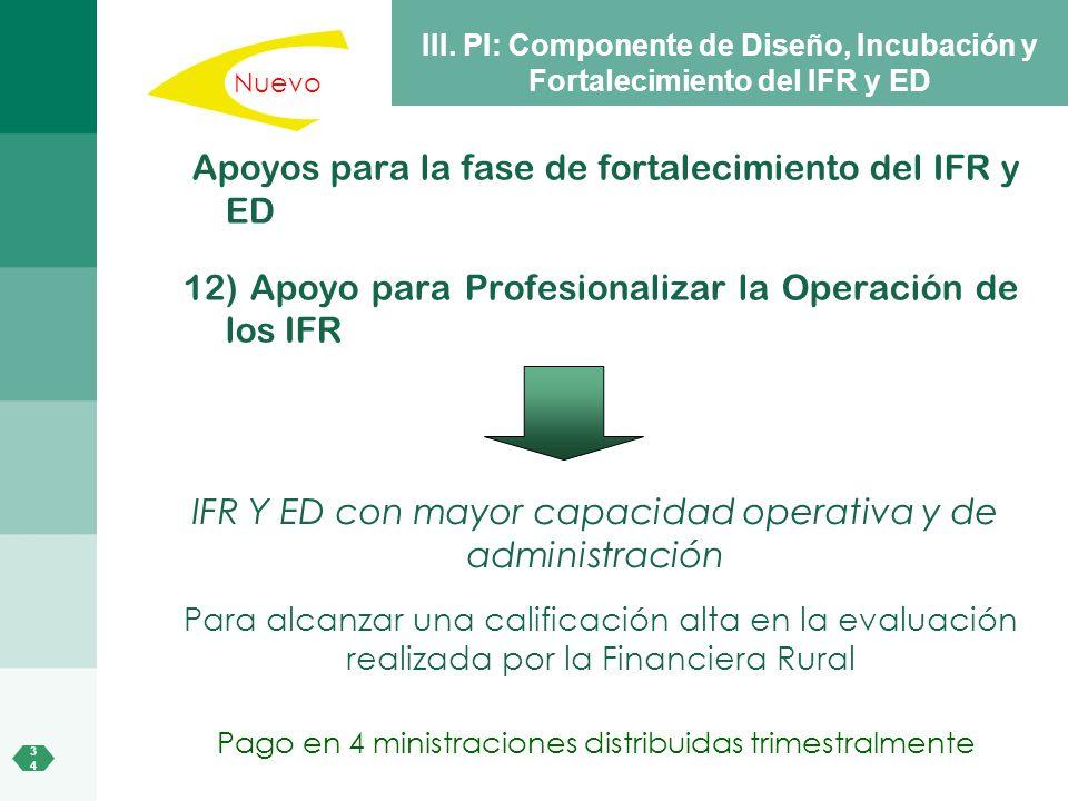 Apoyos para la fase de fortalecimiento del IFR y ED