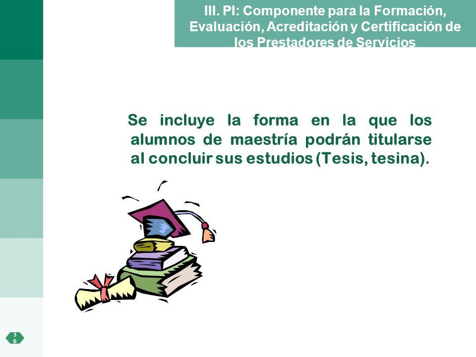 III. PI: Componente para la Formación, Evaluación, Acreditación y Certificación de los Prestadores de Servicios