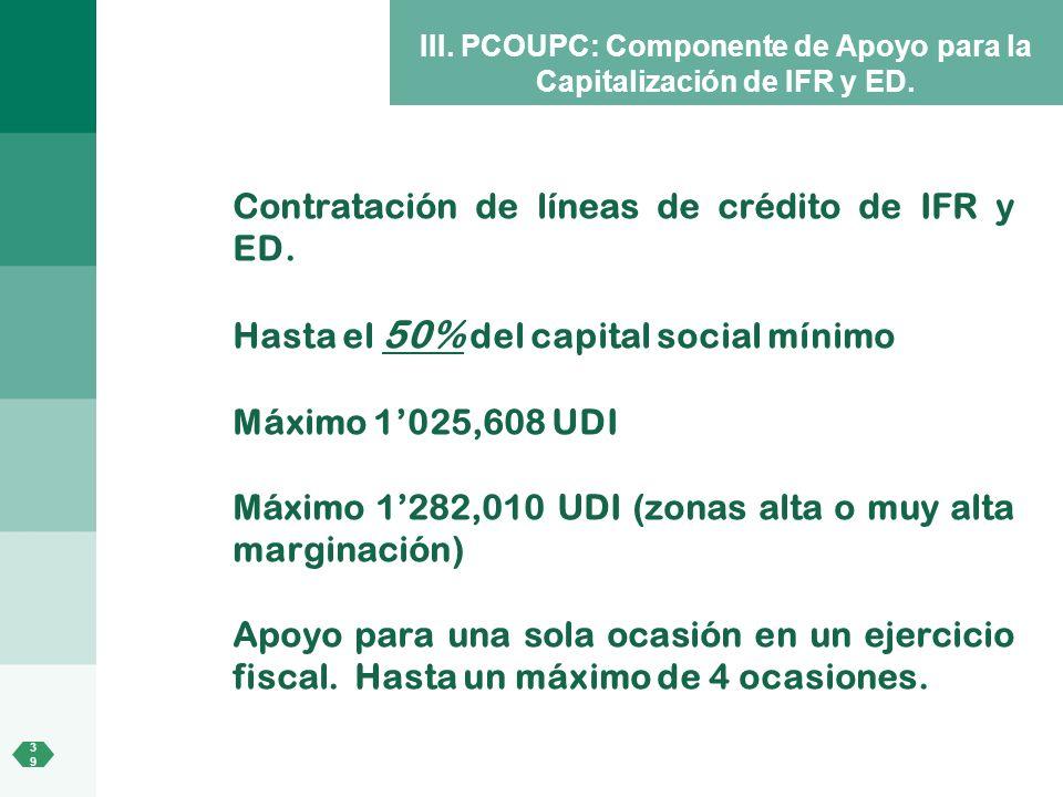 III. PCOUPC: Componente de Apoyo para la Capitalización de IFR y ED.
