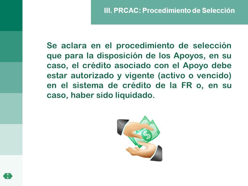 III. PRCAC: Procedimiento de Selección