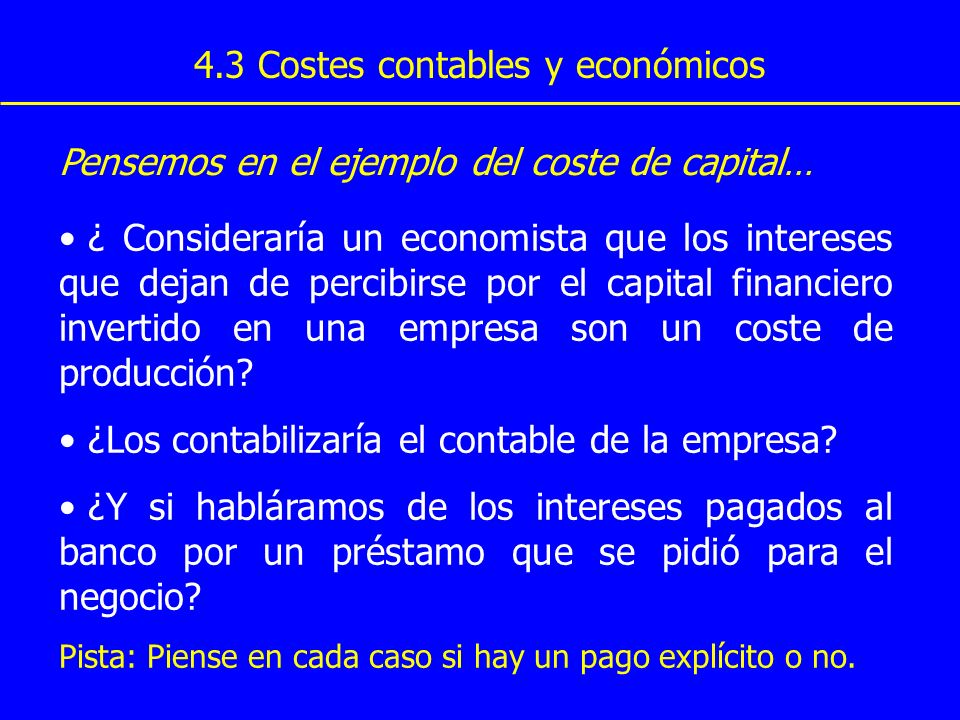 4.3 Costes contables y económicos