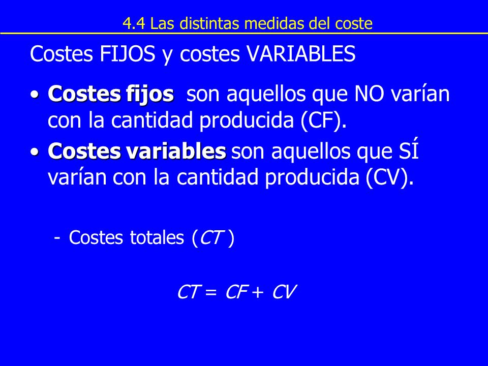 Costes FIJOS y costes VARIABLES