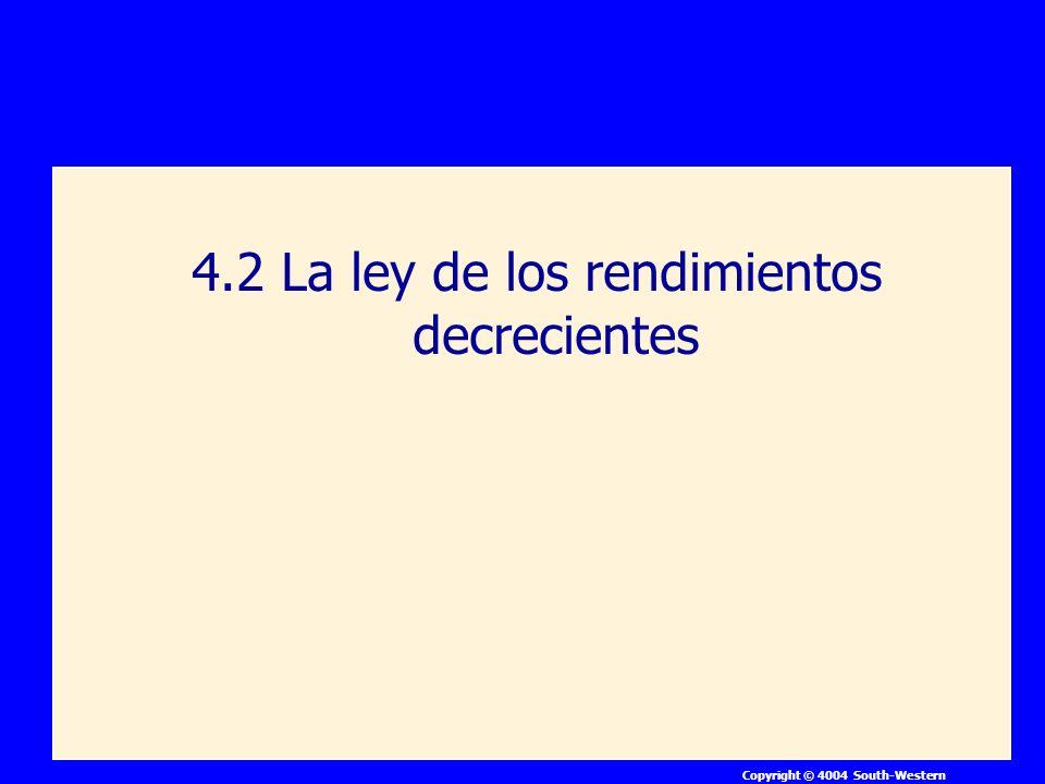 4.2 La ley de los rendimientos decrecientes