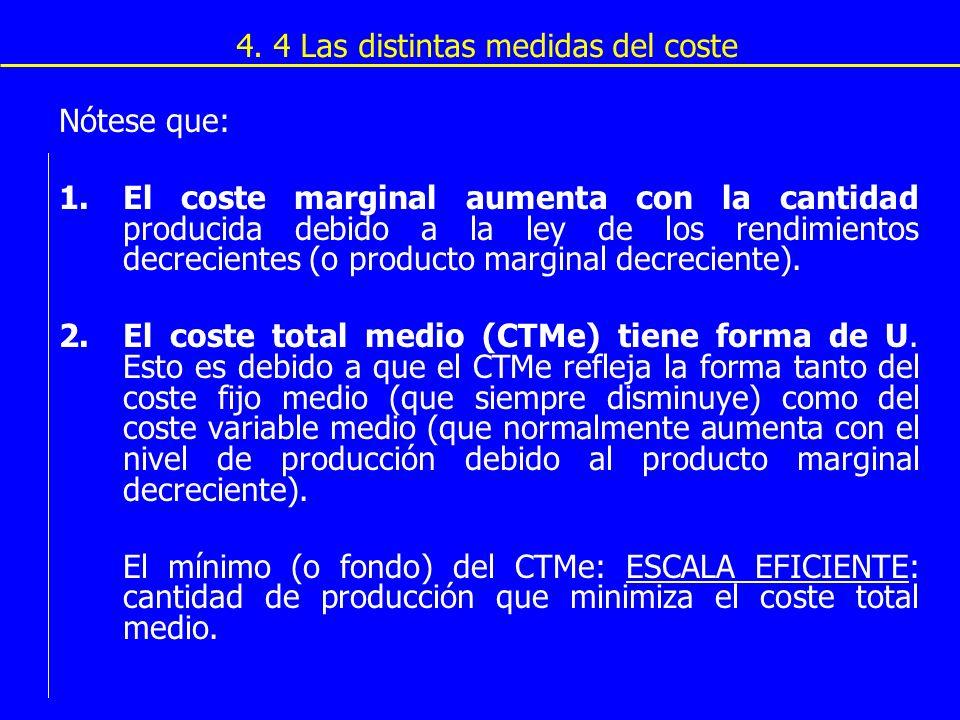 4. 4 Las distintas medidas del coste