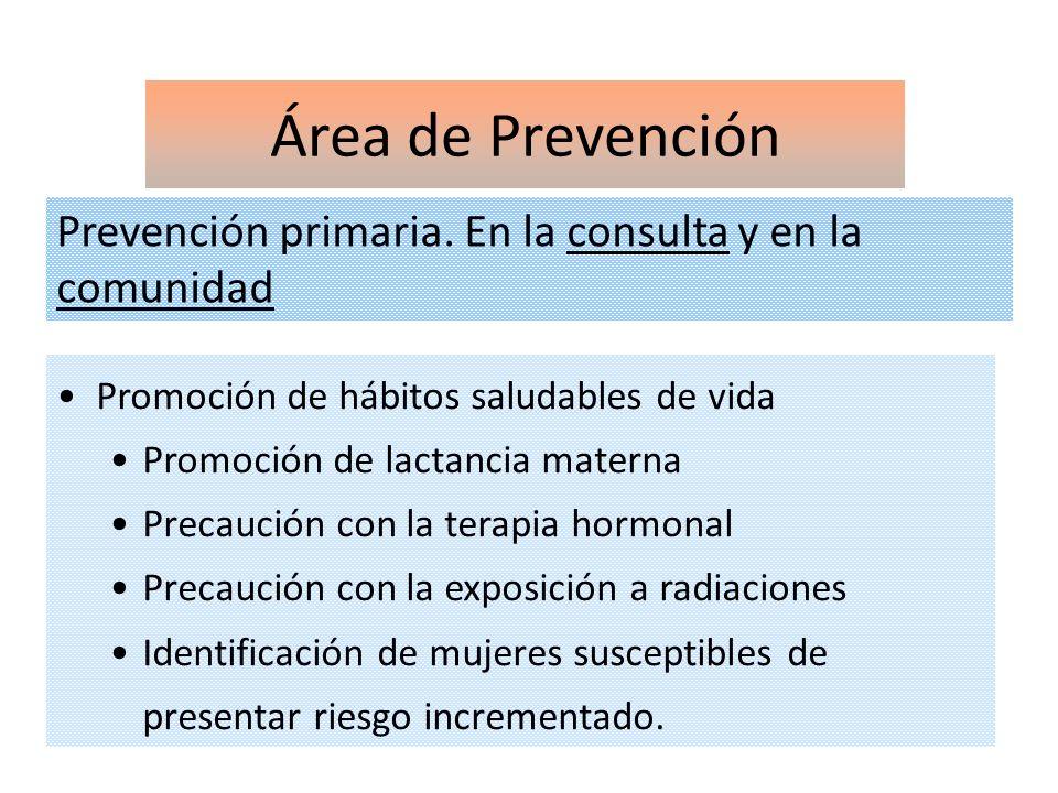 Área de Prevención Prevención primaria. En la consulta y en la comunidad. Promoción de hábitos saludables de vida.