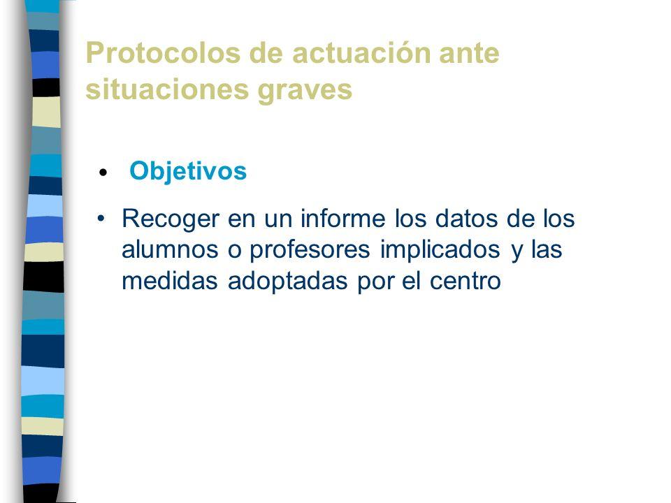 Protocolos de actuación ante situaciones graves