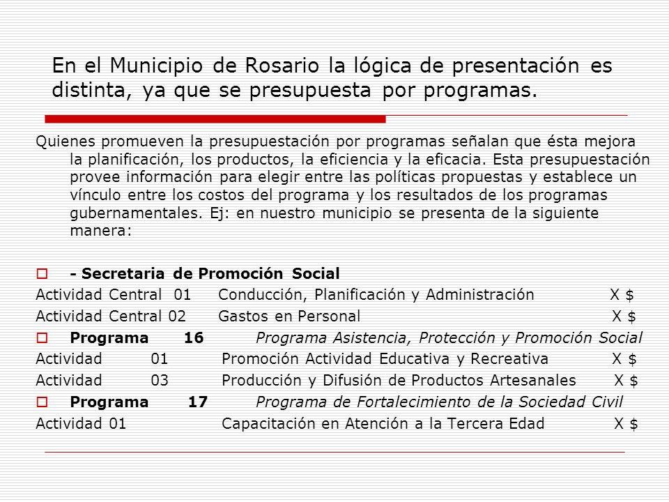 En el Municipio de Rosario la lógica de presentación es distinta, ya que se presupuesta por programas.