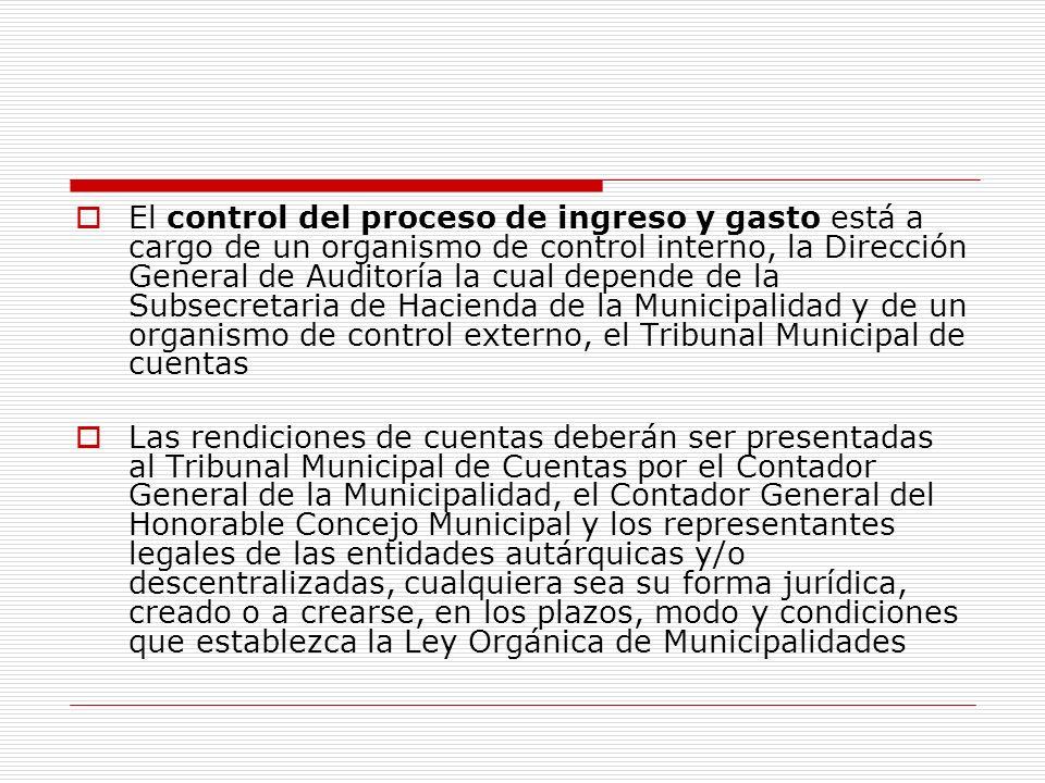 El control del proceso de ingreso y gasto está a cargo de un organismo de control interno, la Dirección General de Auditoría la cual depende de la Subsecretaria de Hacienda de la Municipalidad y de un organismo de control externo, el Tribunal Municipal de cuentas