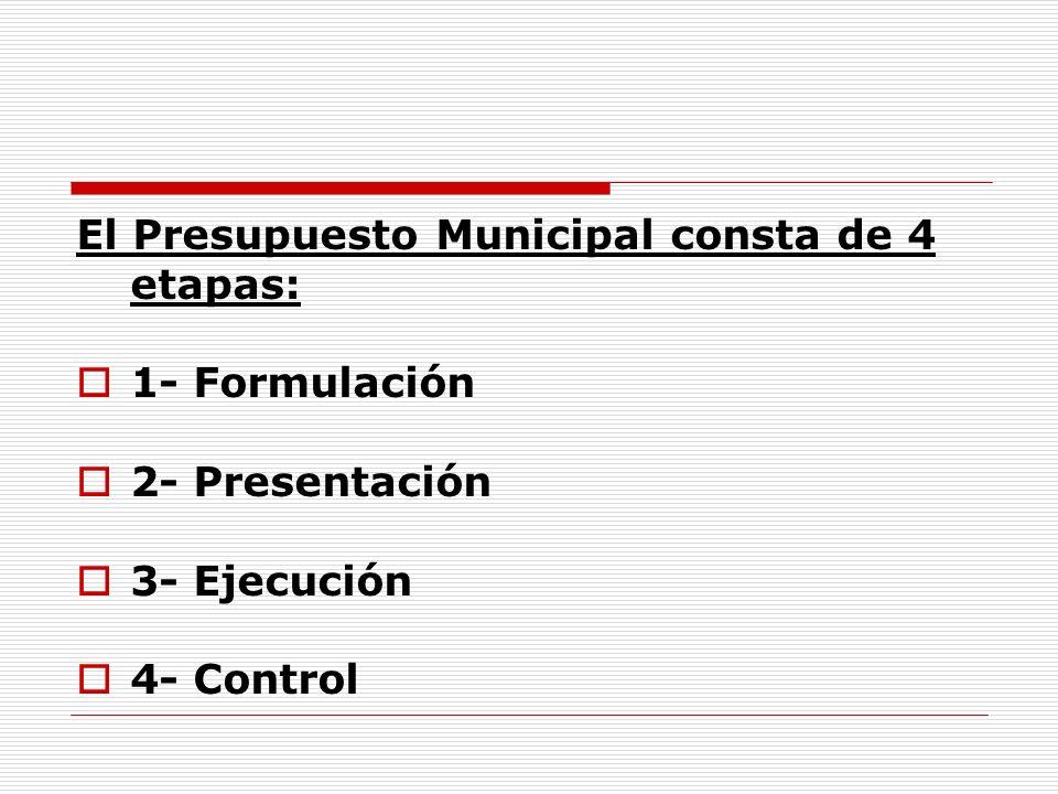 El Presupuesto Municipal consta de 4 etapas: