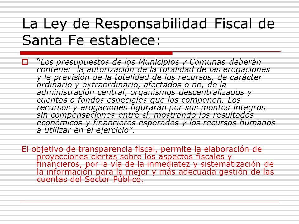 La Ley de Responsabilidad Fiscal de Santa Fe establece:
