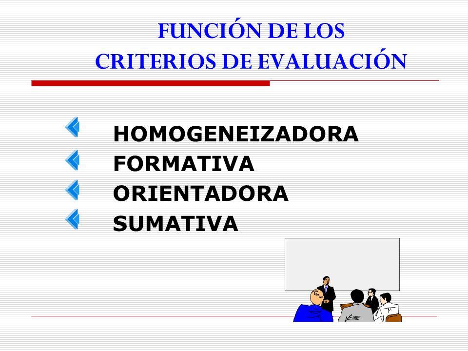 FUNCIÓN DE LOS CRITERIOS DE EVALUACIÓN