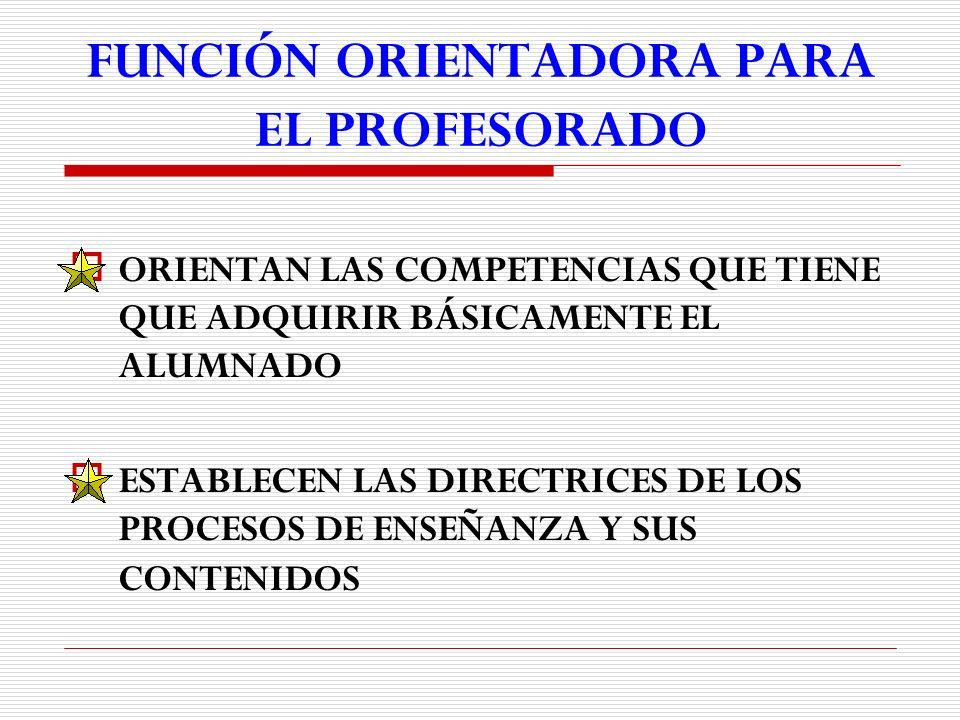 FUNCIÓN ORIENTADORA PARA EL PROFESORADO