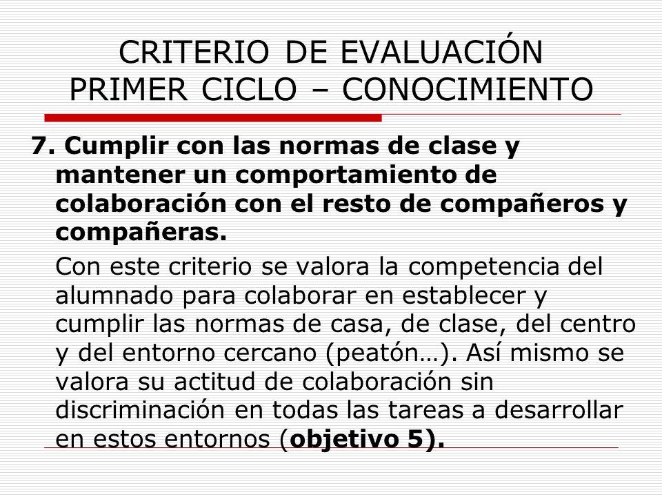 CRITERIO DE EVALUACIÓN PRIMER CICLO – CONOCIMIENTO