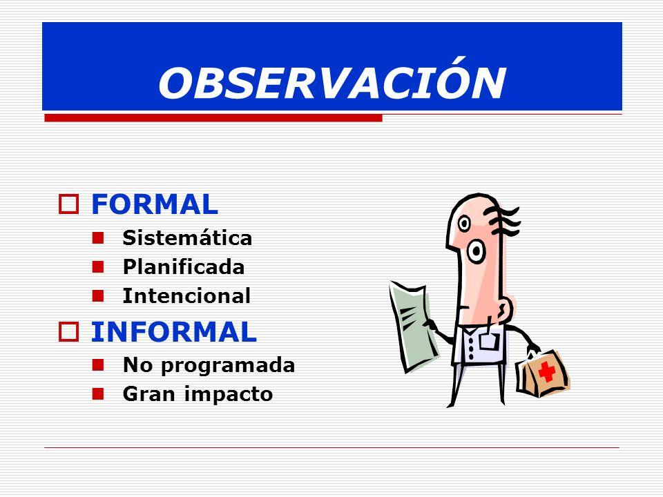 OBSERVACIÓN FORMAL INFORMAL Sistemática Planificada Intencional