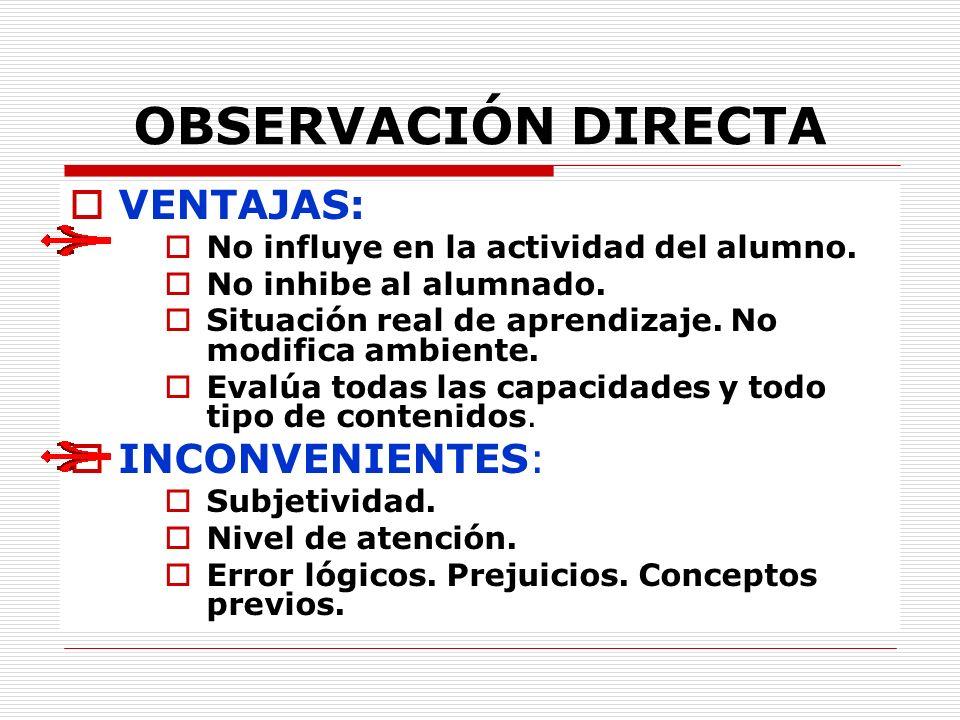 OBSERVACIÓN DIRECTA VENTAJAS: INCONVENIENTES: